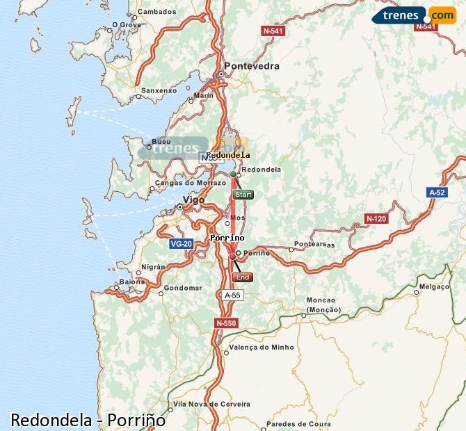 Karte vergrößern Züge Redondela Porriño