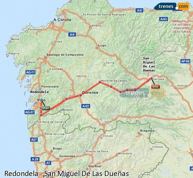 Karte vergrößern Züge Redondela San Miguel De Las Dueñas