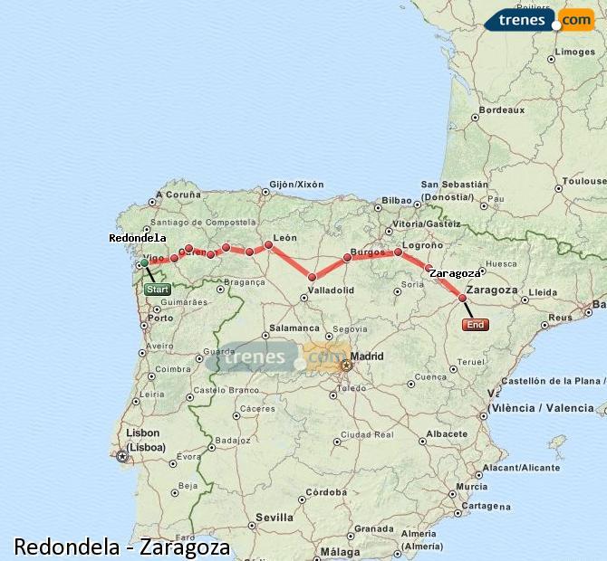 Ingrandisci la mappa Treni Redondela Zaragoza
