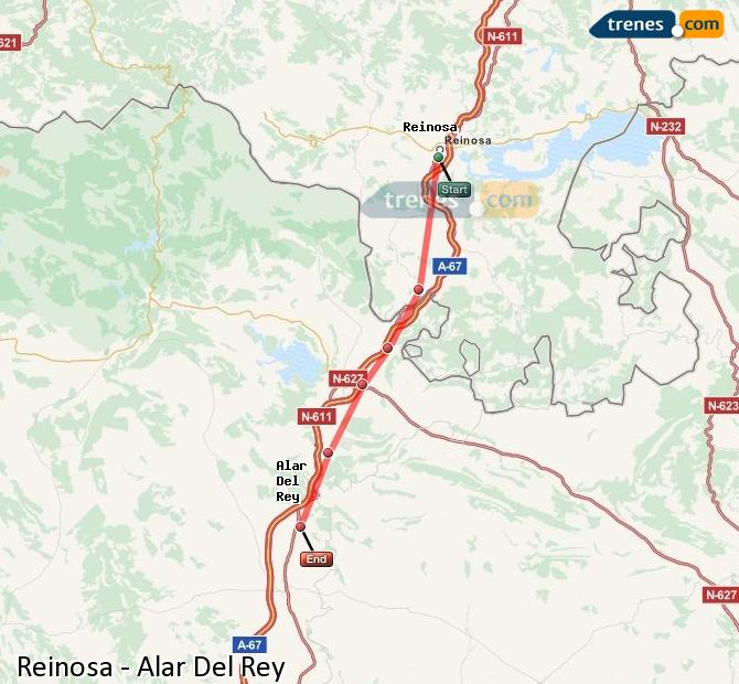 Enlarge map Trains Reinosa to Alar Del Rey