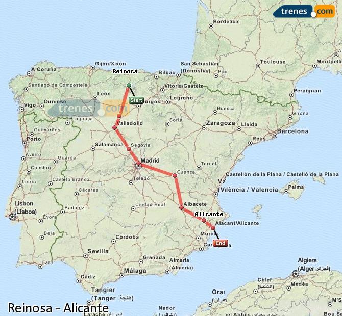 Ingrandisci la mappa Treni Reinosa Alicante