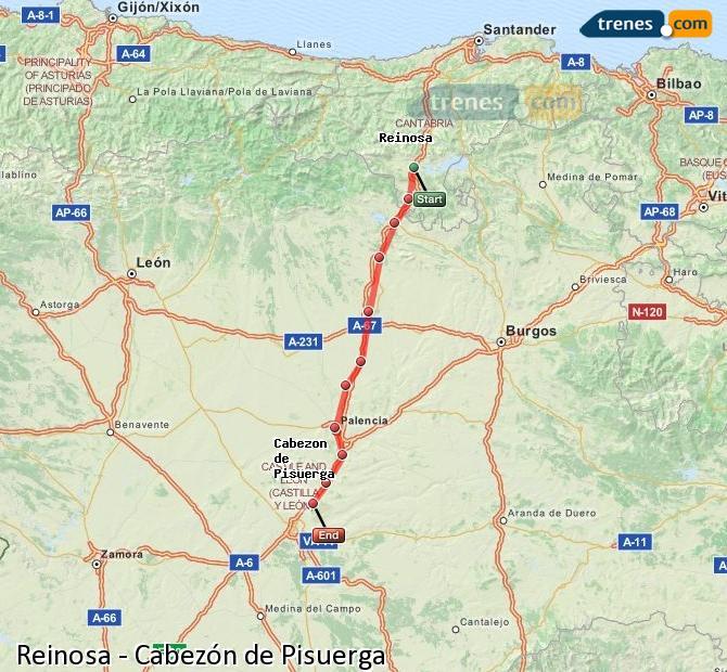 Ingrandisci la mappa Treni Reinosa Cabezón de Pisuerga