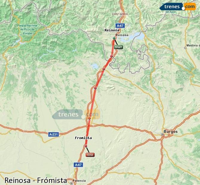 Enlarge map Trains Reinosa to Frómista