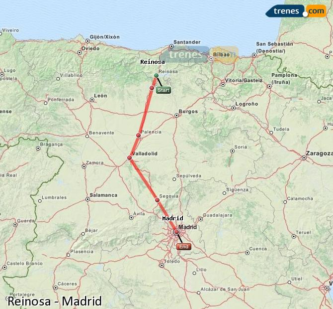Enlarge map Trains Reinosa to Madrid