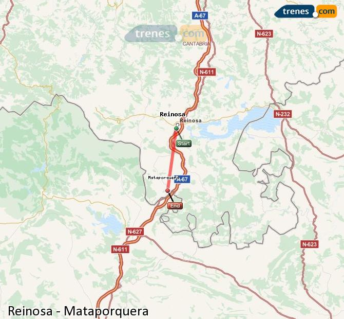 Enlarge map Trains Reinosa to Mataporquera