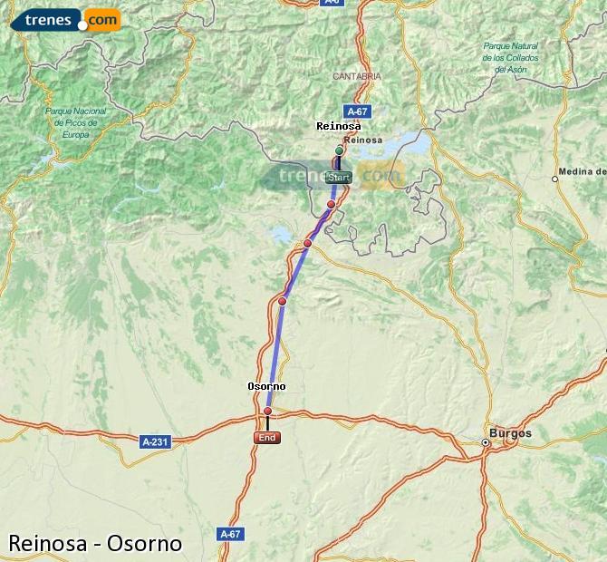 Karte vergrößern Züge Reinosa Osorno