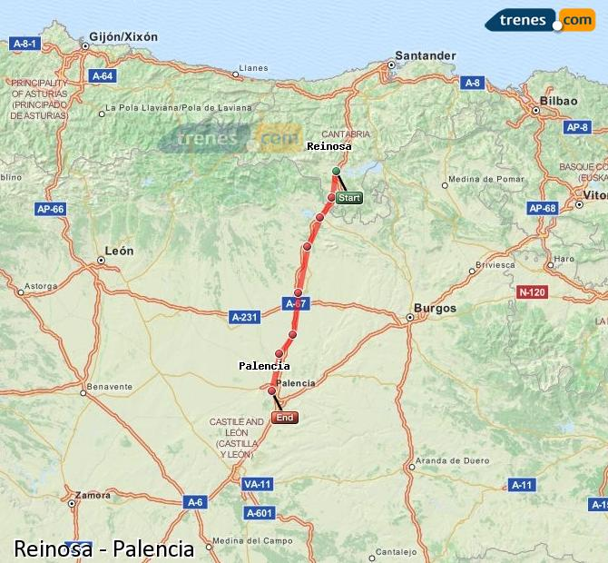 Enlarge map Trains Reinosa to Palencia