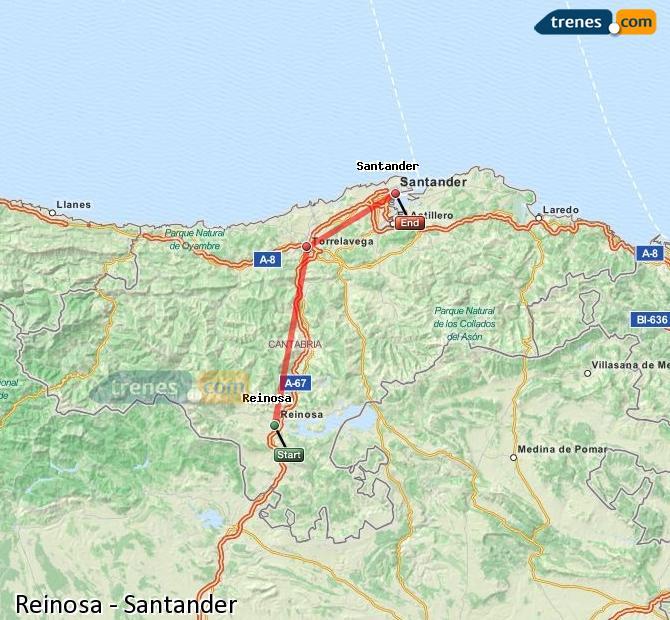 Ampliar mapa Trenes Reinosa Santander