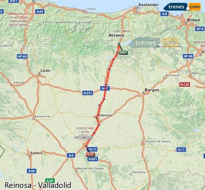 Ampliar mapa Trenes Reinosa Valladolid