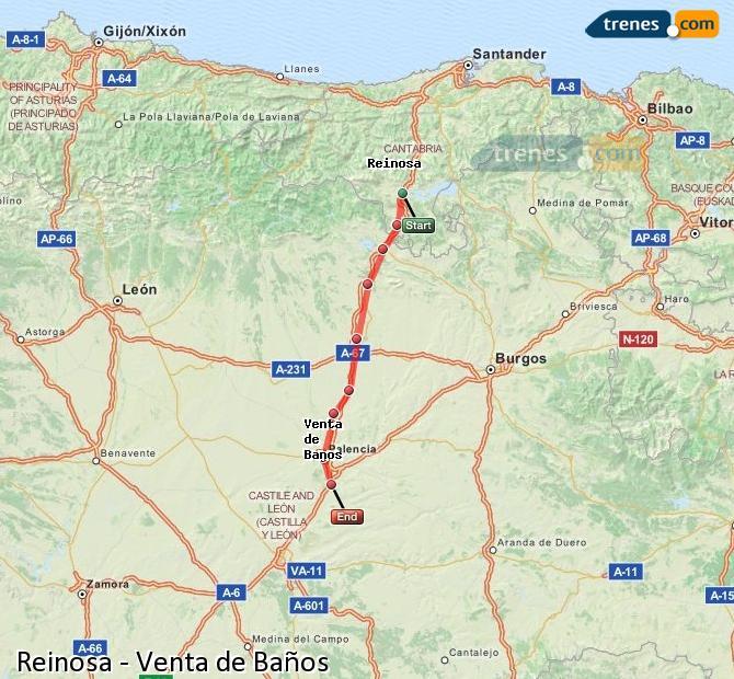 Ampliar mapa Comboios Reinosa Venta de Baños