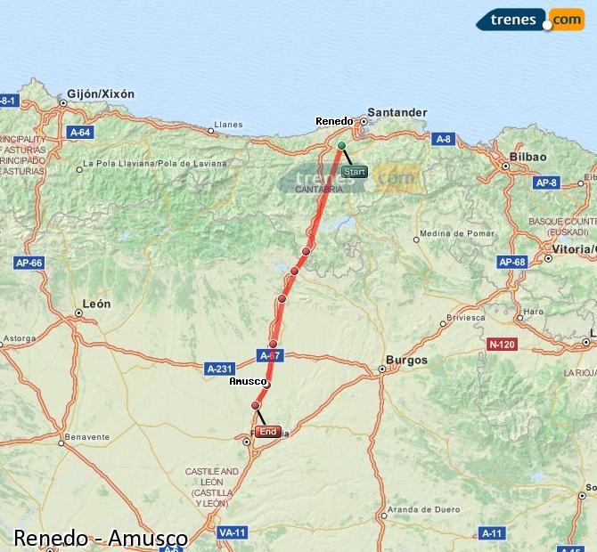 Agrandir la carte Trains Renedo Amusco