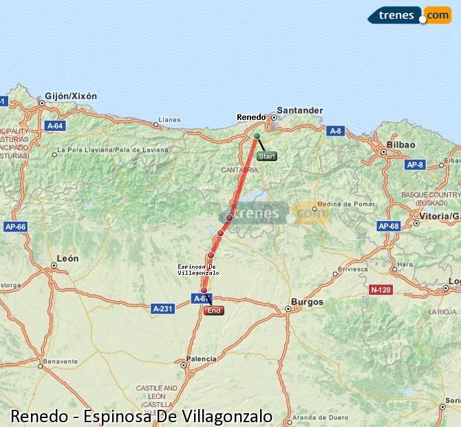 Agrandir la carte Trains Renedo Espinosa De Villagonzalo