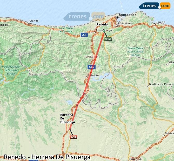 Enlarge map Trains Renedo to Herrera De Pisuerga