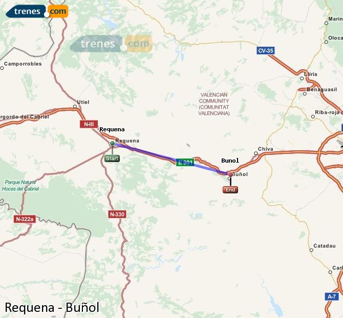 Enlarge map Trains Requena to Buñol