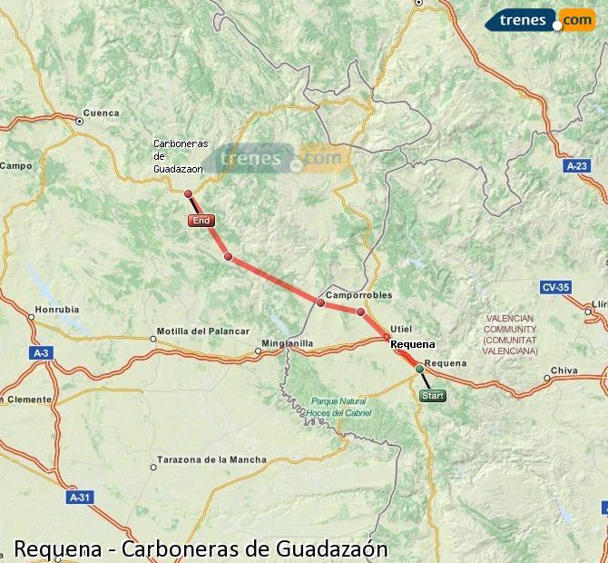 Agrandir la carte Trains Requena Carboneras de Guadazaón
