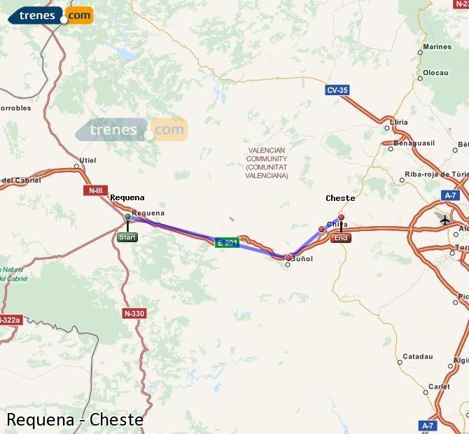 Ampliar mapa Comboios Requena Cheste