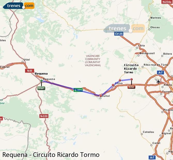 Ampliar mapa Comboios Requena Circuito Ricardo Tormo