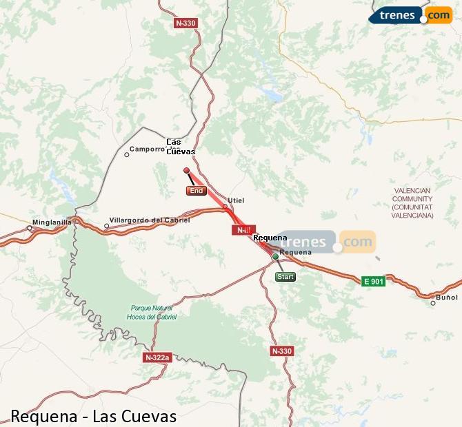 Ampliar mapa Trenes Requena Las Cuevas