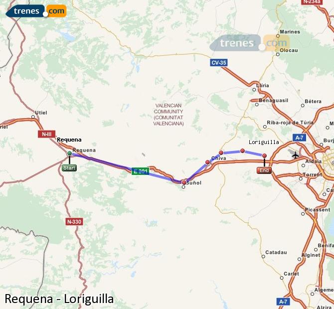 Enlarge map Trains Requena to Loriguilla