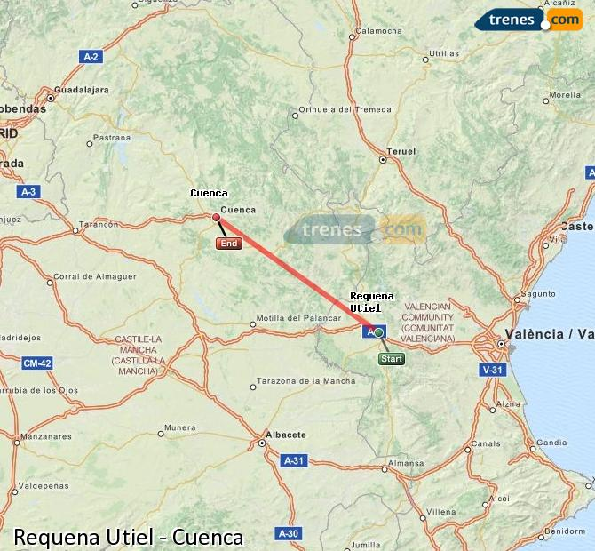 Enlarge map Trains Requena Utiel to Cuenca