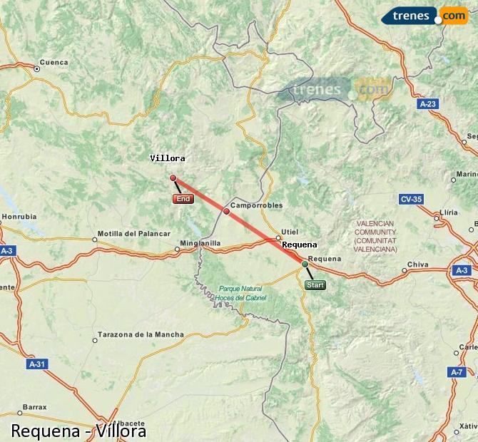 Karte vergrößern Züge Requena Víllora