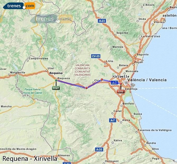 Ingrandisci la mappa Treni Requena Xirivella