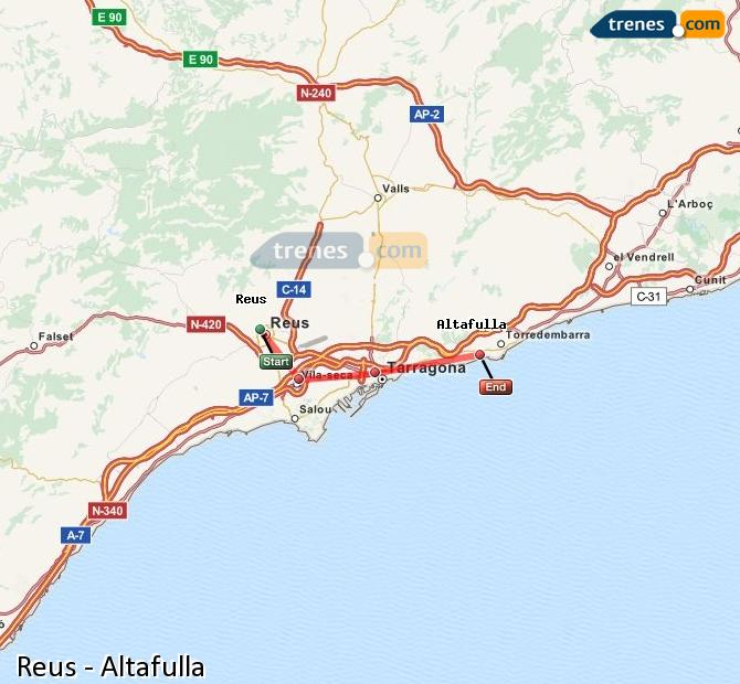 Ampliar mapa Comboios Reus Altafulla