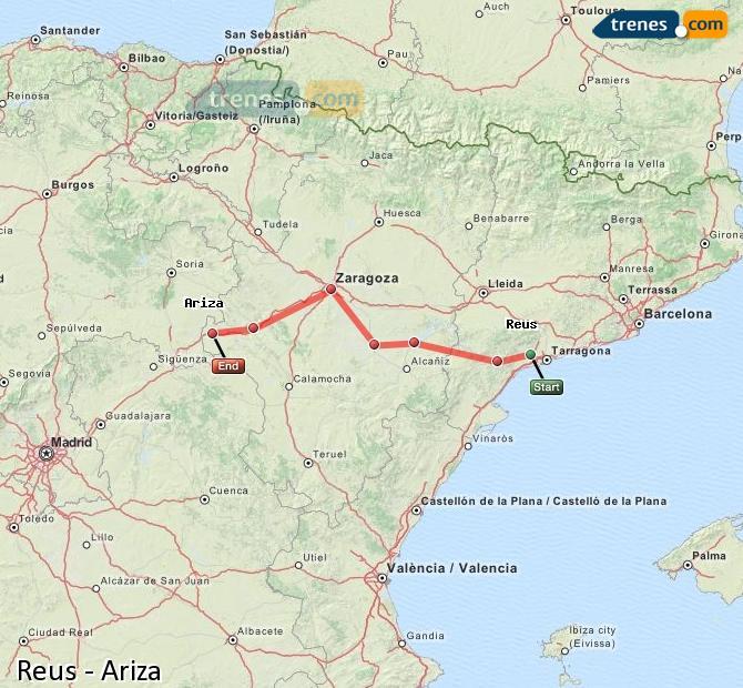 Ingrandisci la mappa Treni Reus Ariza