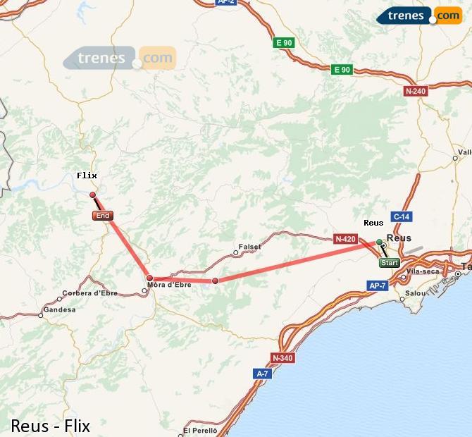 Ingrandisci la mappa Treni Reus Flix