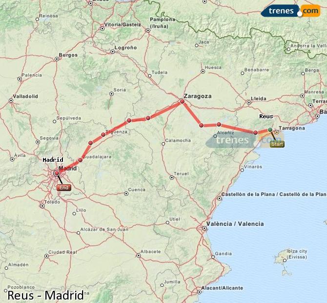 Ampliar mapa Comboios Reus Madrid