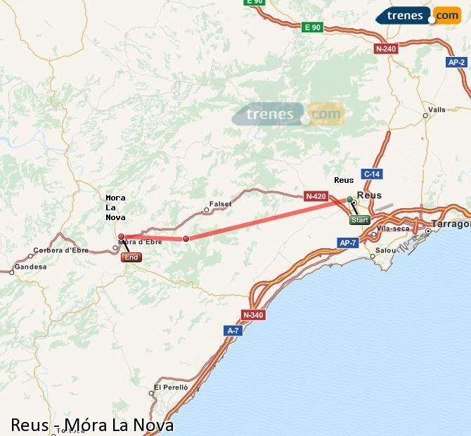 Ingrandisci la mappa Treni Reus Móra La Nova