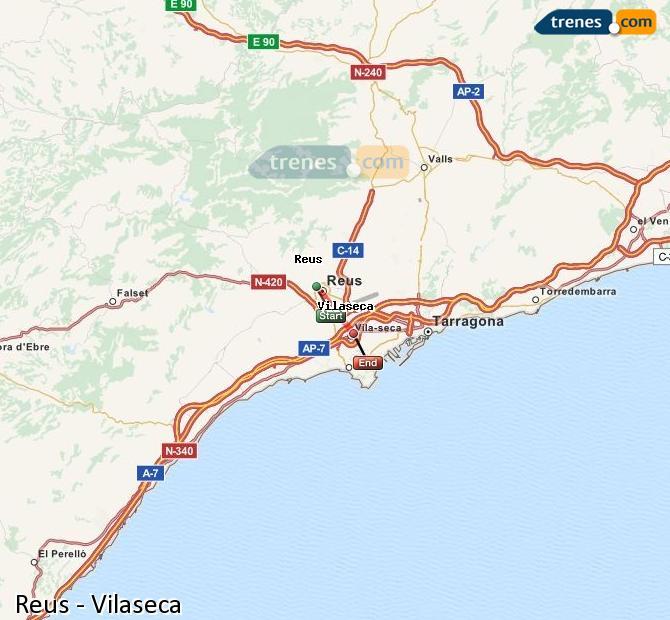 Karte vergrößern Züge Reus Vilaseca