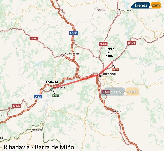 Ampliar mapa Comboios Ribadavia Barra de Miño