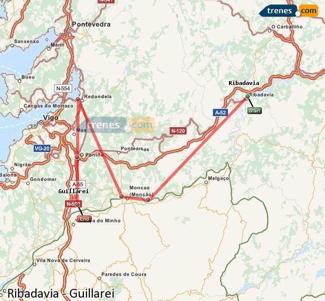 Ingrandisci la mappa Treni Ribadavia Guillarei