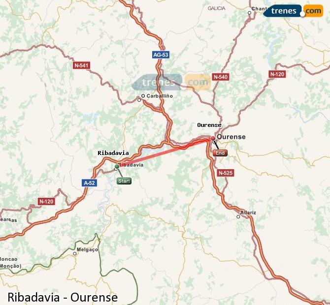 Enlarge map Trains Ribadavia to Ourense