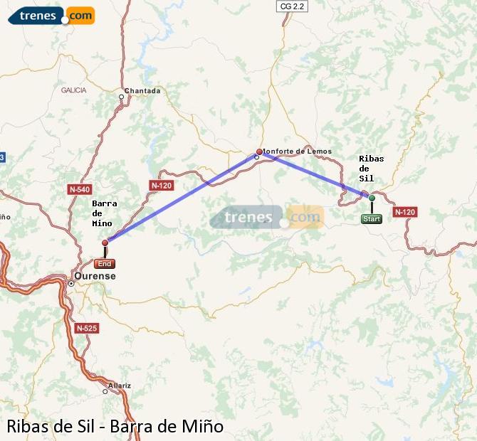 Ampliar mapa Comboios Ribas de Sil Barra de Miño