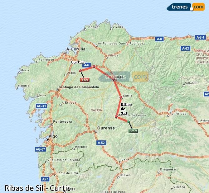 Karte vergrößern Züge Ribas de Sil Curtis