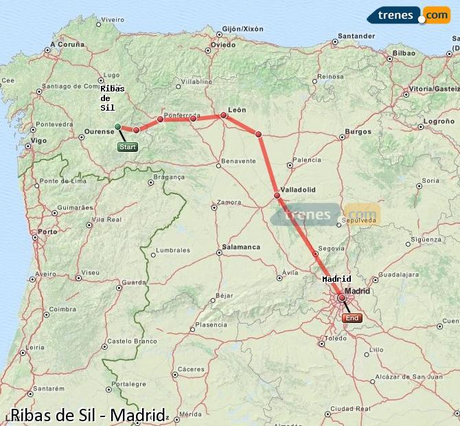 Karte vergrößern Züge Ribas de Sil Madrid
