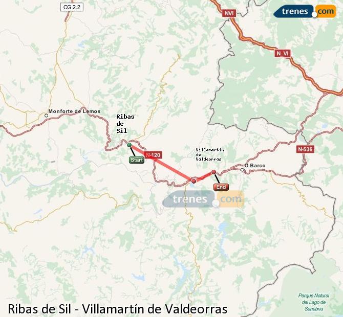 Enlarge map Trains Ribas de Sil to Villamartín de Valdeorras
