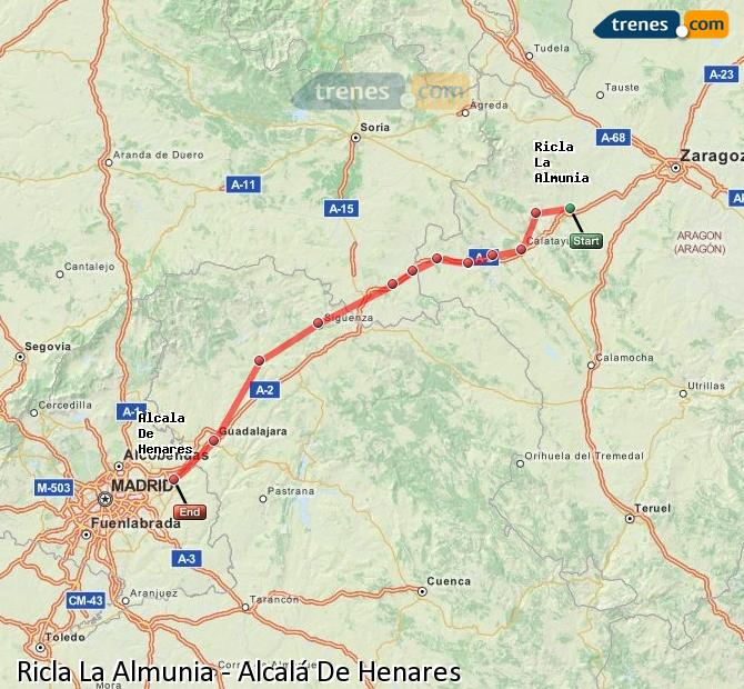 Enlarge map Trains Ricla La Almunia to Alcalá De Henares