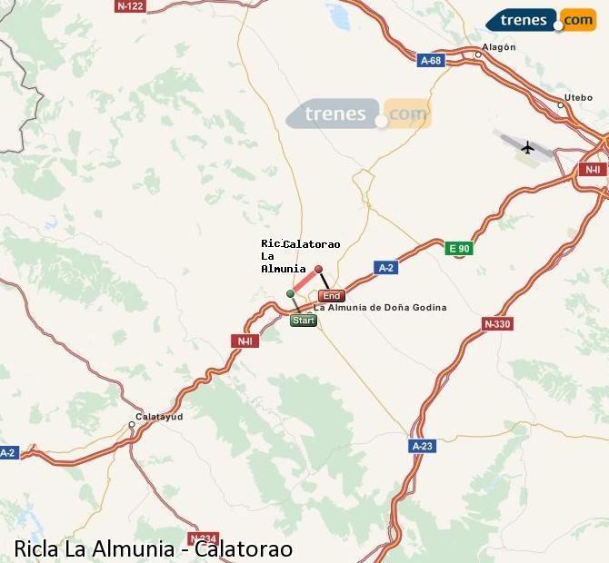 Karte vergrößern Züge Ricla La Almunia Calatorao