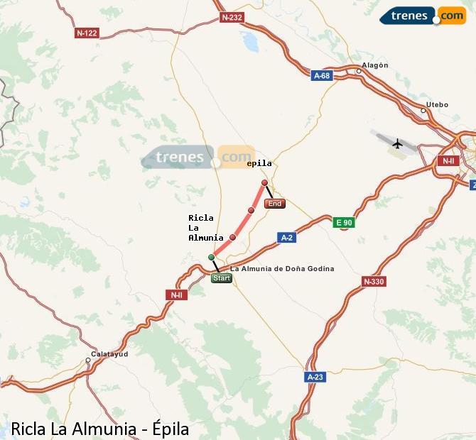 Enlarge map Trains Ricla La Almunia to Epila