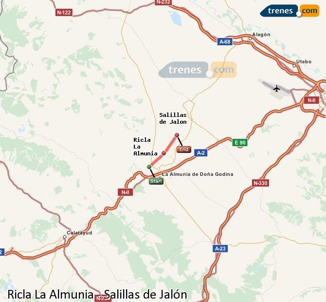 Karte vergrößern Züge Ricla La Almunia Salillas de Jalón