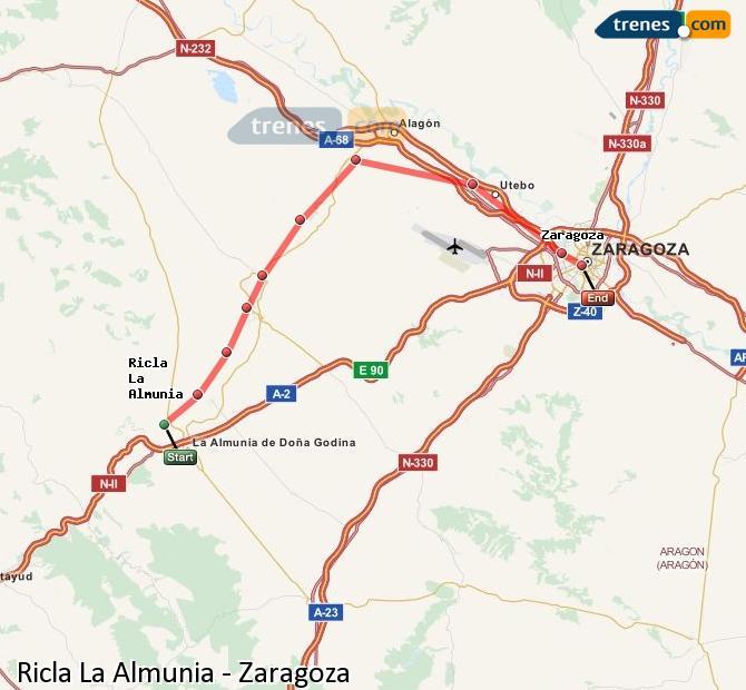 Ingrandisci la mappa Treni Ricla La Almunia Zaragoza