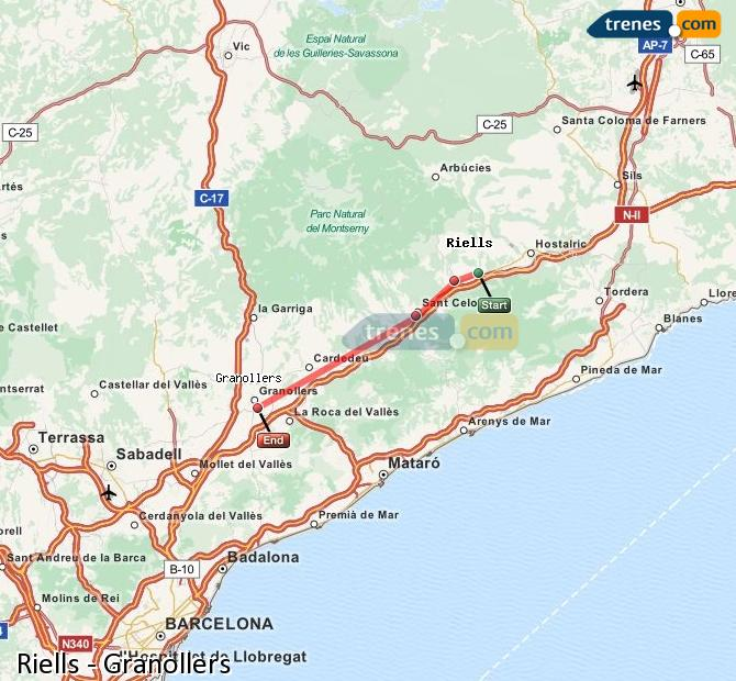 Enlarge map Trains Riells to Granollers