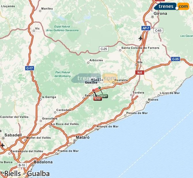 Enlarge map Trains Riells to Gualba