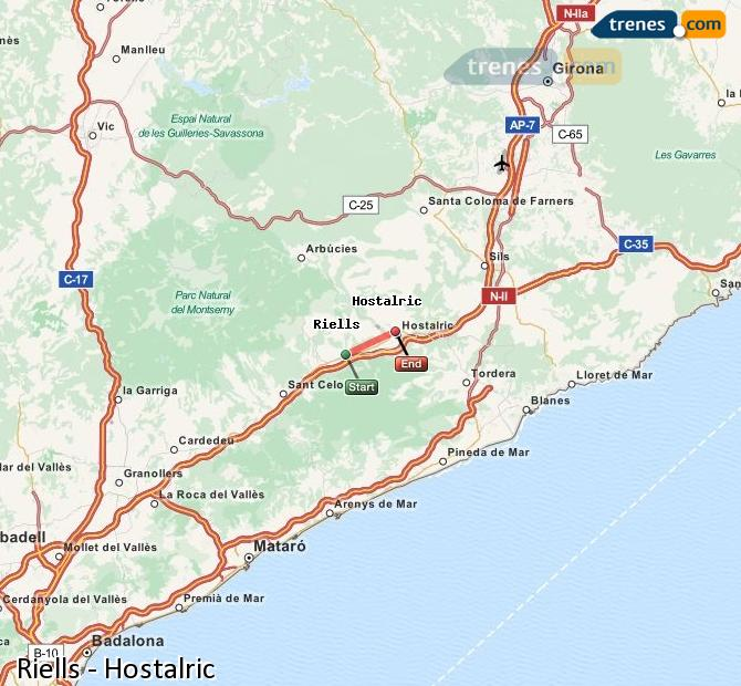 Ingrandisci la mappa Treni Riells Hostalric