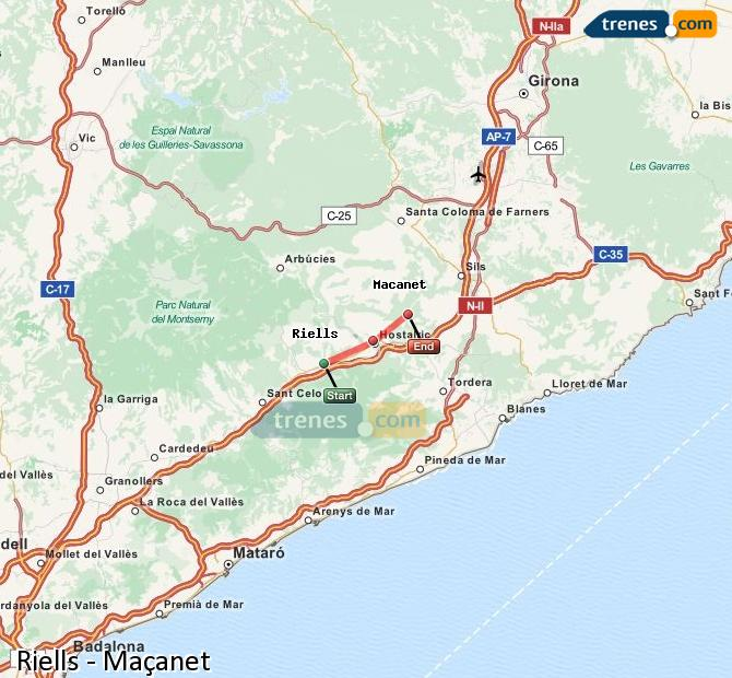 Enlarge map Trains Riells to Maçanet