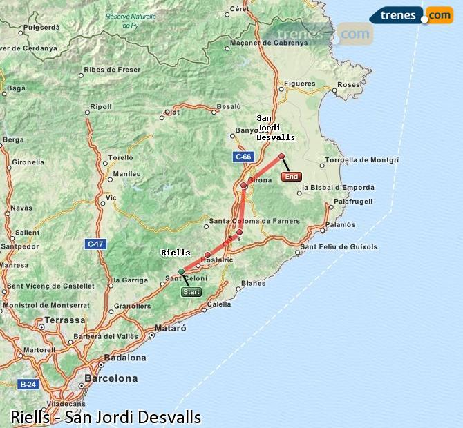 Ampliar mapa Trenes Riells Sant Jordi Desvalls