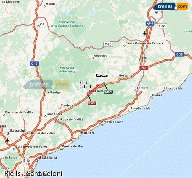 Enlarge map Trains Riells to Sant Celoni